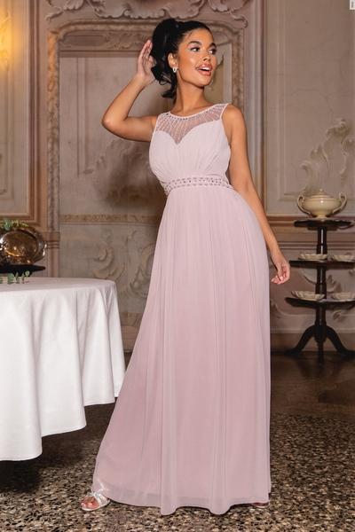 Petite Mocha Embellished Maxi Dress